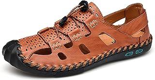 Sandales en Cuir à Bout fermé décontracté pour Homme, Chaussures d'été Sportives réglables pour pêcheur en Plein air