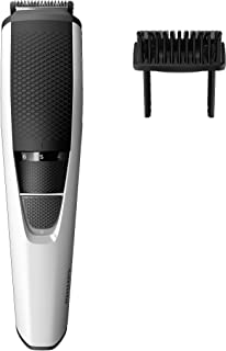 Philips Beardtrimmer Series 3000 Cordless Beard Trimmer with Stainless Steel Blades & 1mm Precision Settings, Black/White, BT3206/14