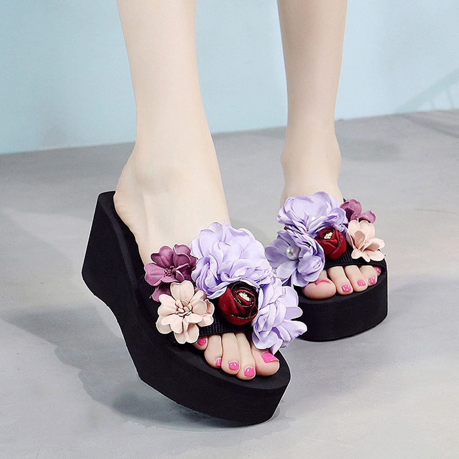 Ladies slippers summer fashion slippers outdoor beach shoes flowers sandals - high 7cm ( color   A , Size   US 8.5\UK 7.5\EUR 42 )
