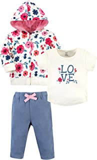 Touched by Nature Baby Organic Cotton Hoodie, Bodysuit/Tee Top and Pant, Garden Floral, 5 Toddler (5T)