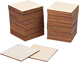 Ruisita 80 Pieces Square Unfinished Blank Wood Pieces Wooden Cutout Tiles for Painting Writing and DIY Arts Crafts Project,3 x 3 Inch (3 x 3 Inches)