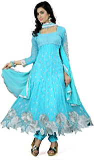 Mert India Women's Georgette Embroidered Semi Stitched Salwar Suit With Dupatta