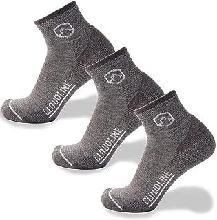 Merino Wool Athletic 1/4 Crew Ultra Light Running Socks - 3 PACK - for Men & Women