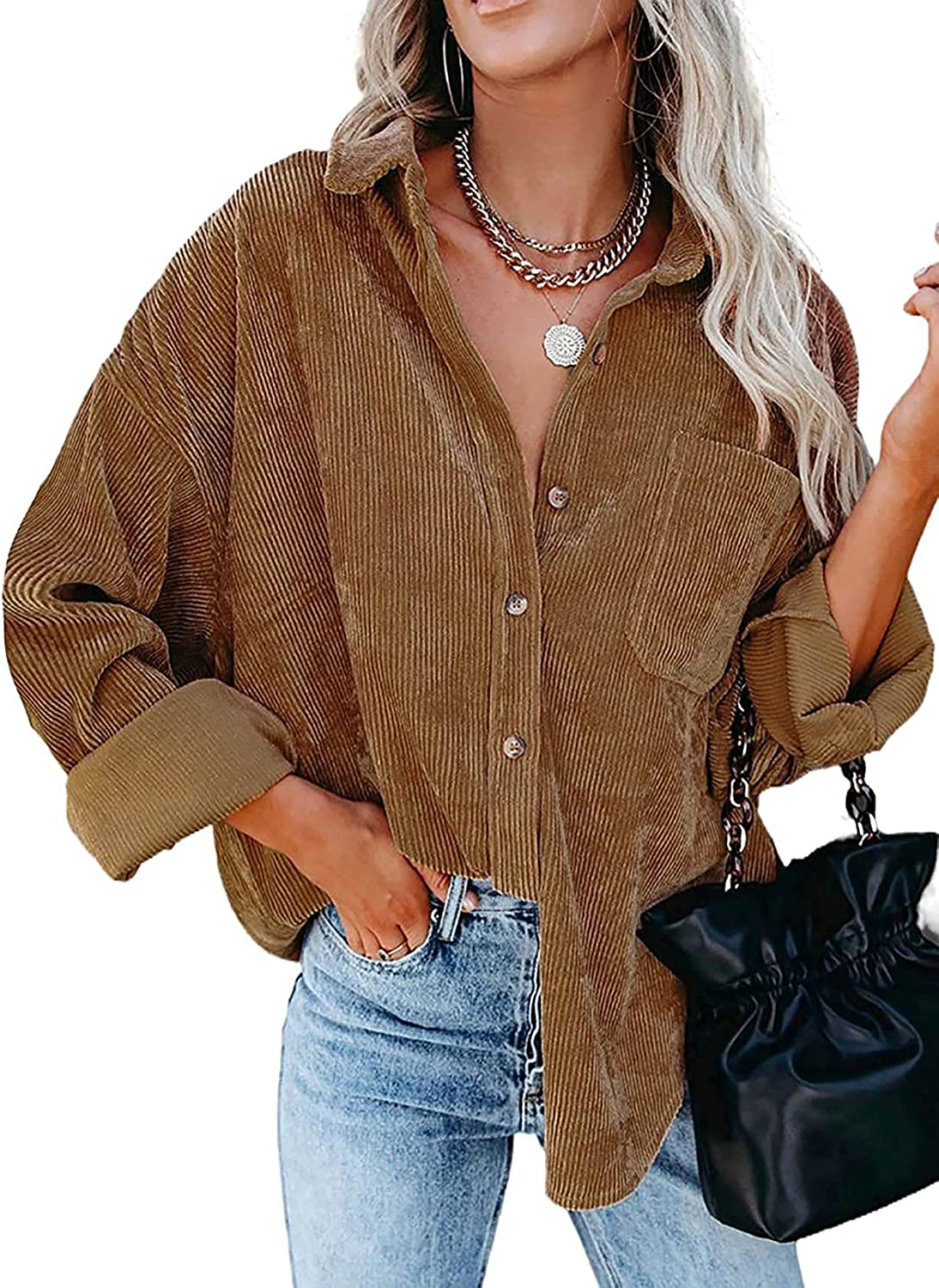 HIZZOA Womens Corduroy Button Down Shirt Oversized Blouses Tops Long Sleeve Casual Warm Jacket with Pockets