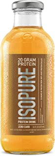 Isopure 20g Protein Drink, 100% Whey Protein Isolate, Zero Carb, Keto Friendly, Flavor: Orange, 12 Pack