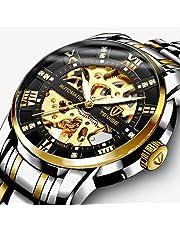 腕時計, メンズ腕時計高級メカニカルステンレススチールスケルトン防水自動自動巻きローマ数字ダイヤモンドダイヤル腕時計