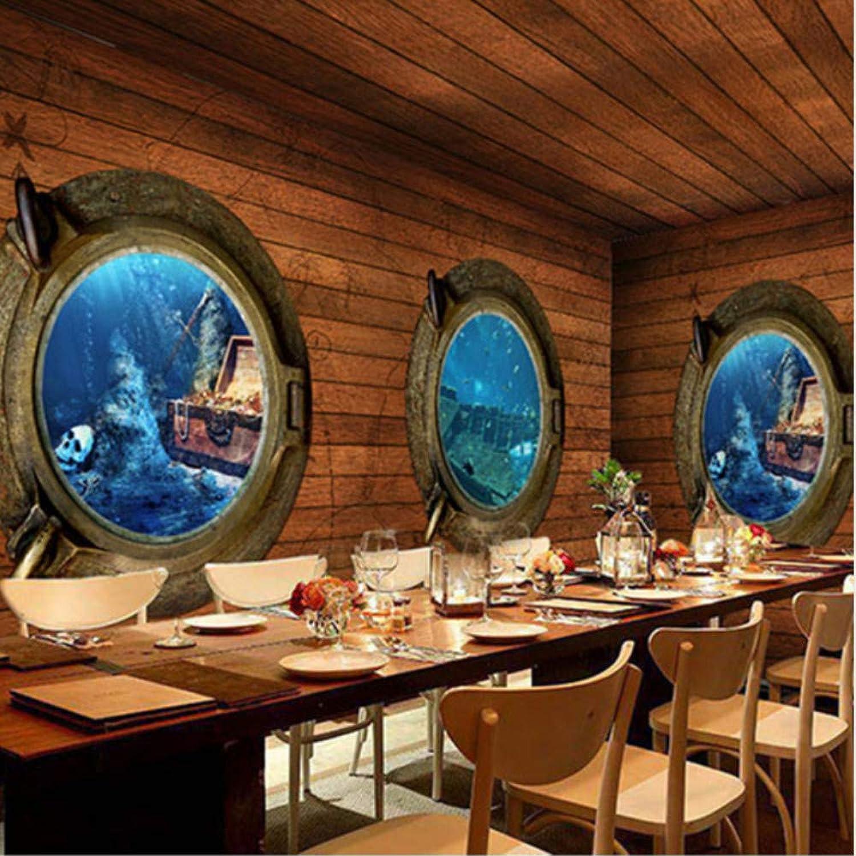 de moda Hwhz Personalizado Estéreo 3D Pirata Madera Madera Madera Mural Wallpaper Retro Adventure Theme Bar Restaurante Cafetería No Tejido Wallpaper Decoración Para El Hogar-200X140Cm  tienda en linea