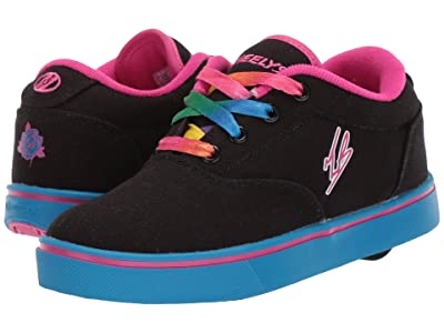 Heelys Launch Tanner (Little Kid/Big Kid/Adult) (Black/Neon Blue/Hot Pink) Girls Shoes