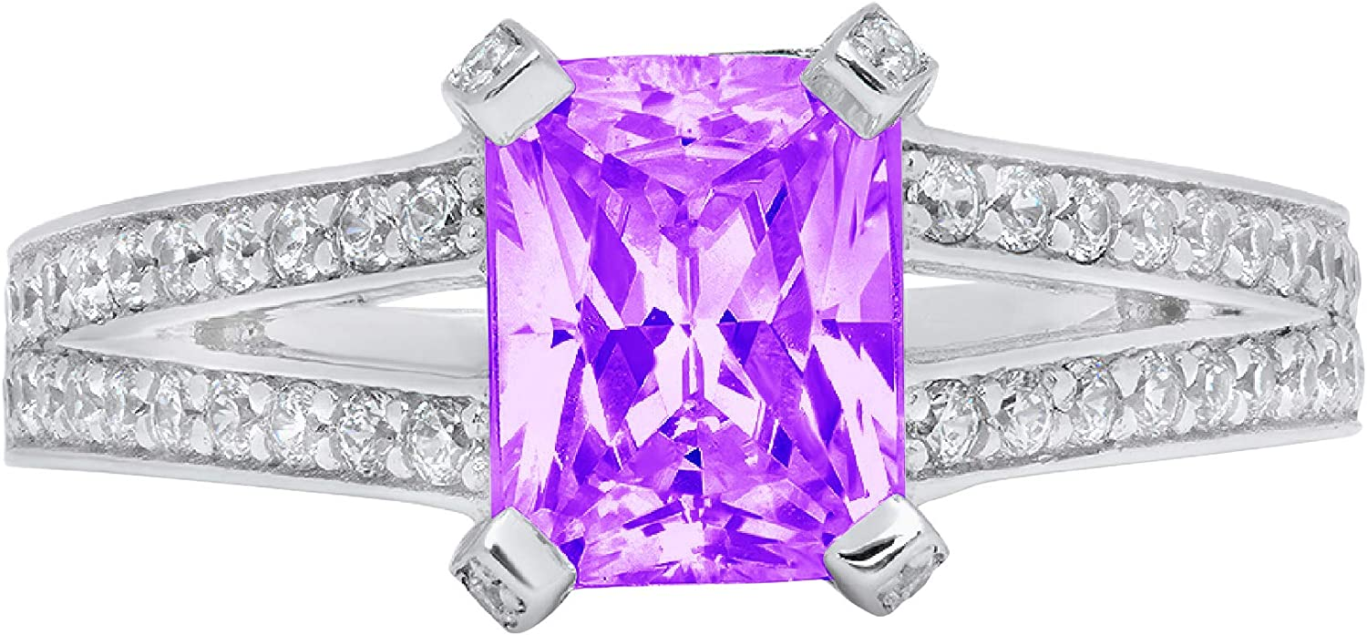 2.67ct Emerald Cut Solitaire with Accent split shank Natural Purple Amethyst Gem Stone VVS1 Designer Modern Statement Ring Solid 14k White Gold Clara Pucci