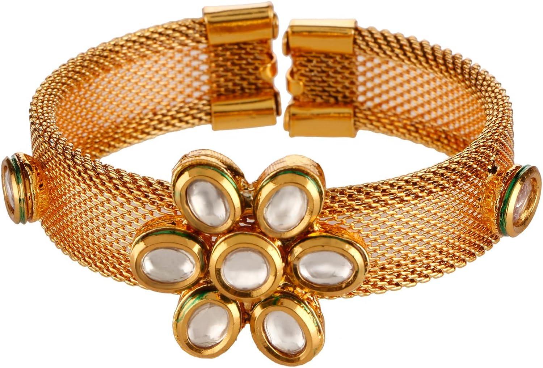 Efulgenz Fashion Jewelry Indian Bollywood 14 K Gold Plated Floral Faux Kundan Rhinestone Cuff Style Bracelets Bangle for Women
