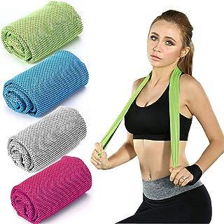 "WaterLuu Evaporative Cooling Towel,Quick Cooling Towel 40""x12"" Snap Cooling Towel for Sports, Workout, Fitness, Gym, Yoga, Pilates, Travel, Camping & More (4 Pack)"
