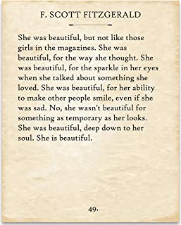 F. Scott Fitzgerald - She was Beautiful. - 11x14 Unframed Typography Book Page Print - Great Gift for Book Lovers