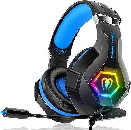 Casque Gaming PS4, Casque Gaming Xbox one Professionnel RGB 7 Couleurs Audio Stéréo Basse Anti-Bruit Réglable Micro C...