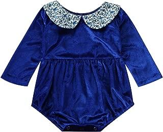 Newborn Long Sleeve Romper Baby Girls Peter Pan Collar Sweet Flannel Bodysuit Dress