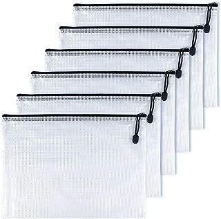 OAIMYY A5-Waterproof Tear-Resistant Plastic Zipper Pen File Document Folders Pockets Travel Bags,6-Pcs,Black