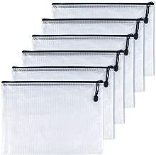 OAIMYY A6-Waterproof Tear-Resistant Plastic Zipper Pen File Document Folders Pockets Travel Bags,6-Pcs,Black