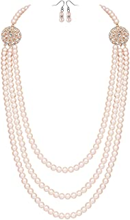 BABEYOND 1920s Gatsby Pearl Necklace Vintage Bridal Pearl...