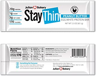 Julian Bakery Stay Thin® Protein Bar (Organic Peanut Butter) (170 Cal)(20g Protein)(Egg White)(3 Net Carbs)(4 Ingredients)(1g Sugar)(12 Gluten-Free Bars)