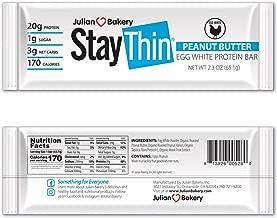 Julian Bakery Stay Thin® Protein Bar (Organic Peanut Butter) (170 Cal)(20g Protein)(Egg White)(3 Net Carbs)(4 Ingredients)(1g Sugar)(12 Gluten-Free Bars)