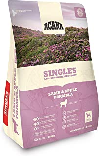 ACANA Singles Lamb & Apple Dry Dog Food. 4.5 Pound Bag (Limited Ingredient Biologically Appropriate & Grain Free Dog Food