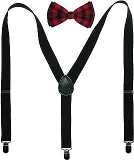CTM® Men's Buffalo Plaid Bow Tie with Solid Suspender Set, Black