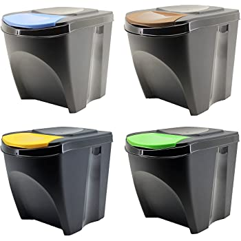 Tontarelli PK2158 Touch/&lift Set 3 papeleras 135 litros color negro con tapa tricolor