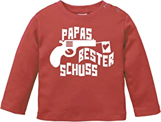 Comedy Shirts Papas Bester Schuss - Baby Langarm Shirt - Rundhals, 100% Baumwolle, Langarm Basic Print-Shirt
