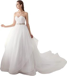 Ubridal Sweetheart Ball Gown Beading Sash Ruffles Tulle Wedding Dress Bridal Gown