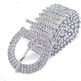 FUMUD 9 خط كريستال حجر الراين سلسلة الخصر مشبك حزام إكسسوار الأزياء للنساء