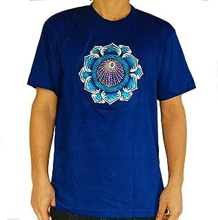 Iceblue Aum UV mandala goa T-shirt flower of life
