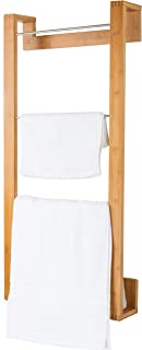 MyGift 42-Inch Bamboo Wall-Mounted Towel Holding Rack with 4 Metal Bars, Natural Beige