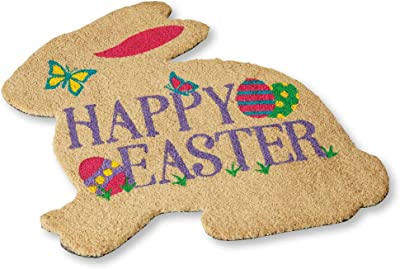 Collections Etc Festive Colorful Happy Easter Bunny-Shaped Coco Welcome Mat with Skid-Resistant Backing