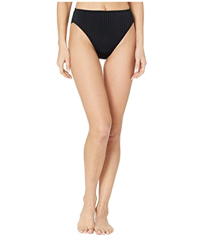 MICHAEL Michael Kors Solid Rib High-Waist High Leg Bikini Bottoms (Black) Women