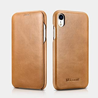 iCarer iPhone XR Genuine Leather Flip Case Curved Edge Cover - brown