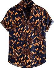 BIBOKAOKE Hawaïhemd met korte mouwen, voor heren, linnenlook, henley-shirt, cool ademend en vrijetijdshemd, losse casual s...