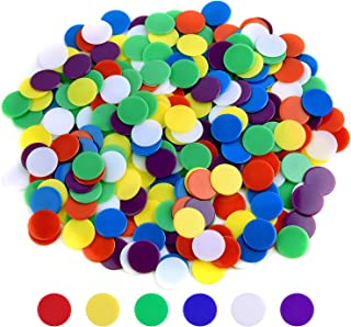 Coopay 300 Pieces Counters Counting Chips Plastic Markers Mixed Colors for Bingo Chips Game Tokens, Contain White, Blue, Green, Yellow, Red, Purple Colors