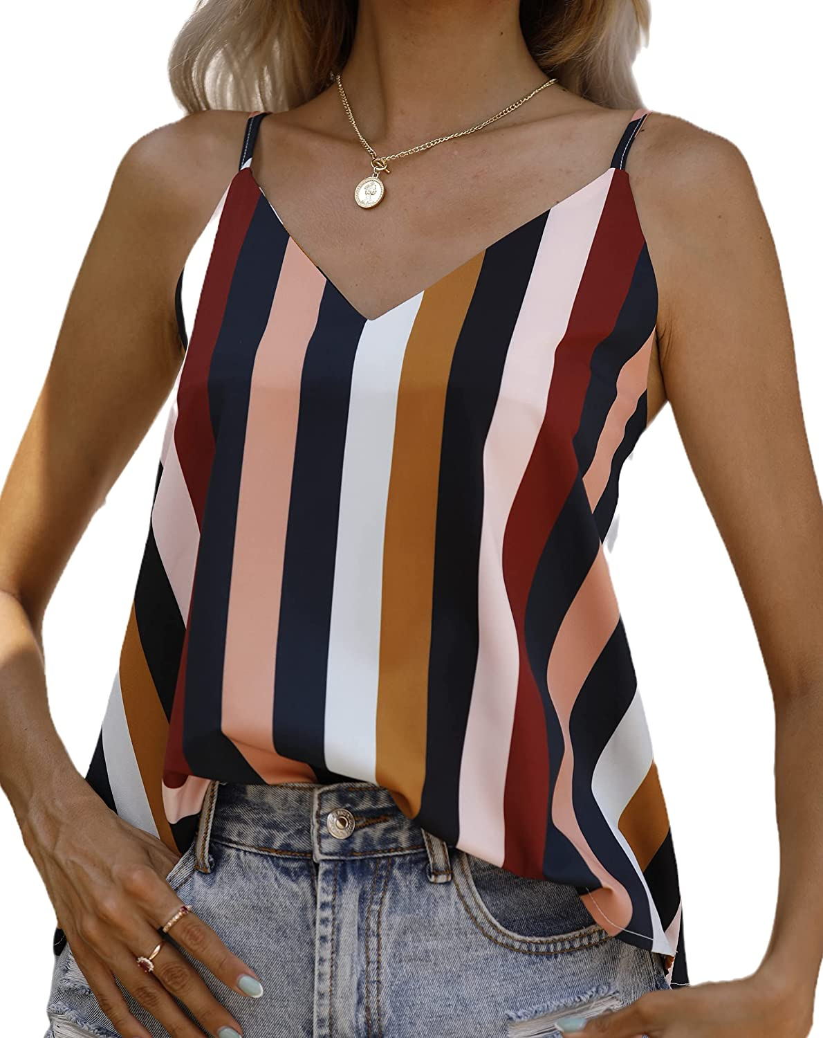 HNTAQU Womens Summer Stripe Loose Casual Sleeveless Shirts Scoop Neck Strappy Tank Tops Camis Blouses.