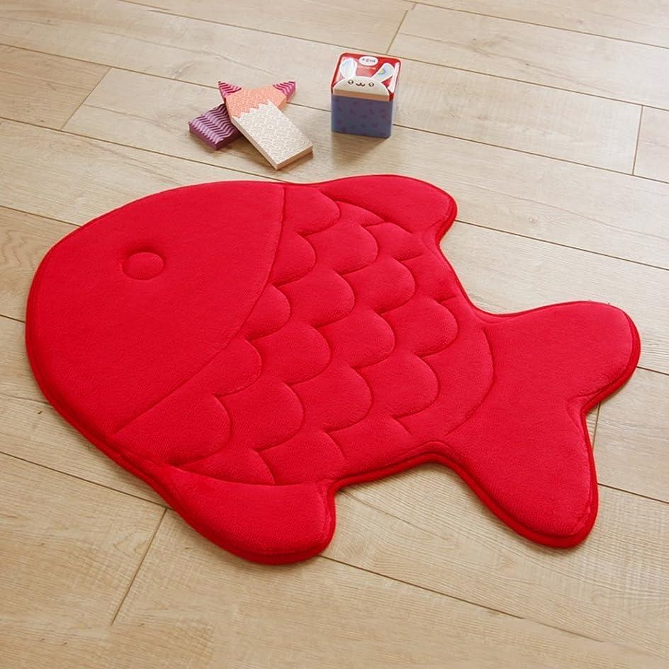 レジ情緒的するUmora 形状記憶マット 魚形 キッチンマット ラグ お風呂マット ベッドルーム 洗える 滑り止め 高吸水性(レッド)