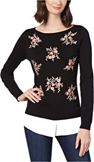 Embroidered Layered-Look Sweater