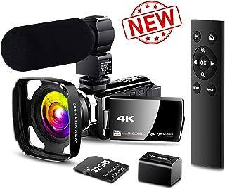 【New Upgrade】 4K Camcorder Vlogging Video Camera Ultra HD 60FPS Digital Recorder YouTube Camera 2.4G Remote Control IR Night Vision 3.0