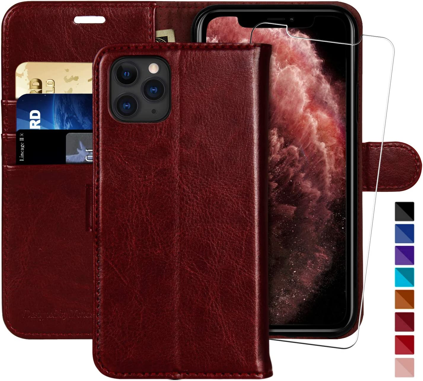 iPhone 11 Pro Max Wallet Case,6.5-inch,MONASAY [Glass Screen Protector Included] [RFID Blocking] Flip Folio Leather Cell Phone Cover with Credit Card Holder for iPhone 11 Pro Max