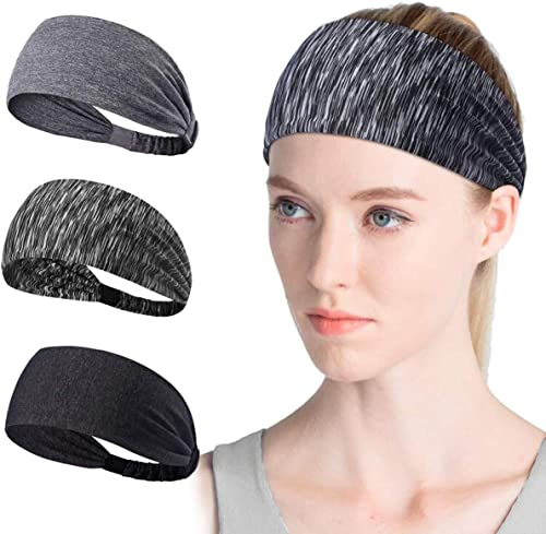 4PCS Women Workout Headband Lightweight Soft Wicking Stretchy Head Wrap Ideal for Sports/Yoga/Pilates/Dancing/Running...