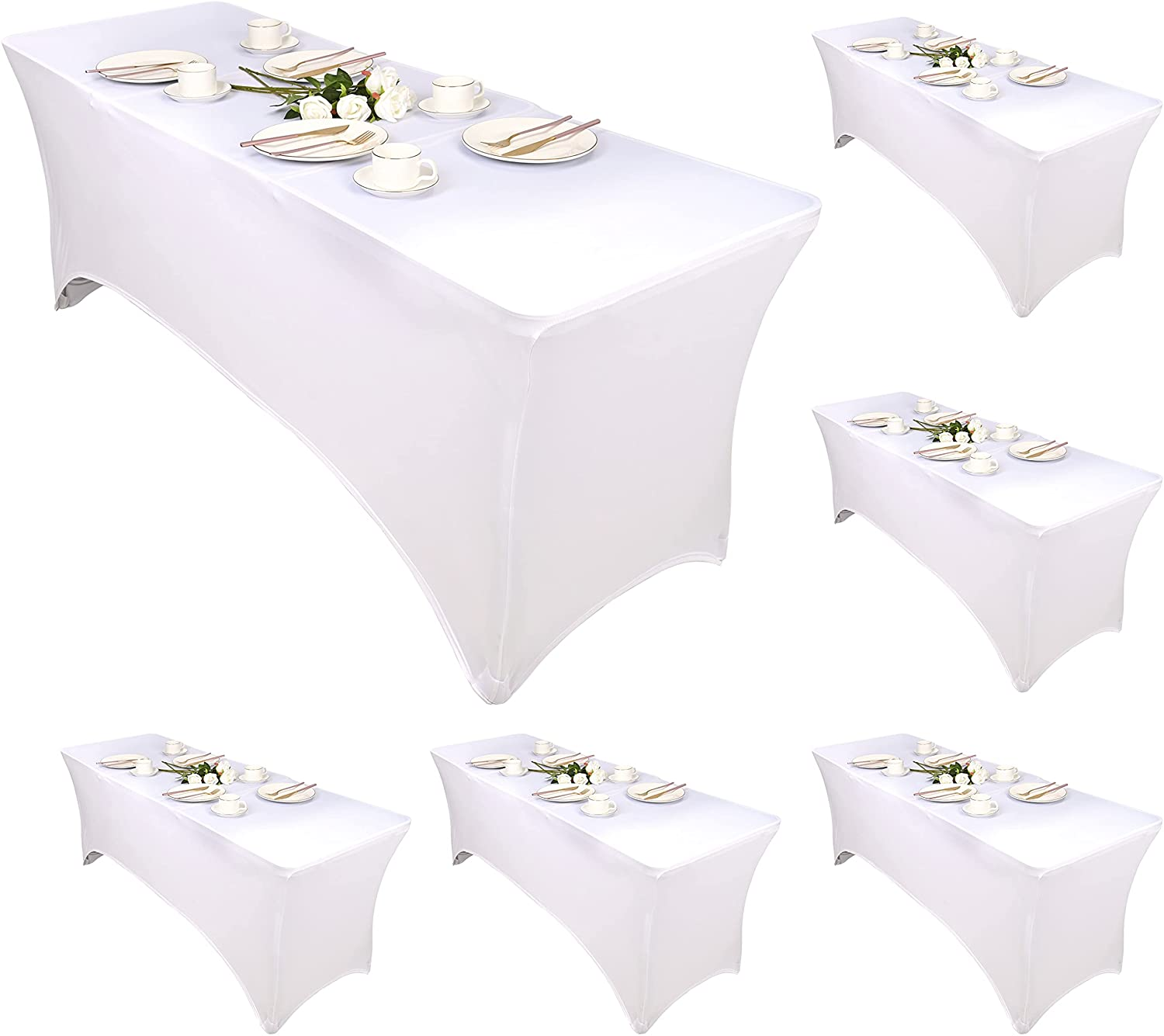 6 Pcs Ft OFFicial store Stretch Spandex Rectangular Stretchable Tablecloth Pa Super sale period limited