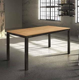 InHouse srls Table en Bois chêne et estructure en Metal avec 1 rallonge cm. 60; Dimensions cm.140x80; avec rallonge cm. 20...