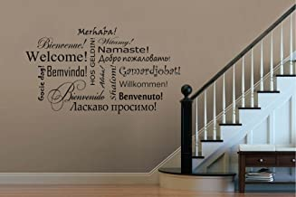 Julia Cruz Welcome in Different Languages Wall Vinyl Decals Living Room Decorations Abstraction Stickers Housewares Art Therapy Stencils Home Interior 313