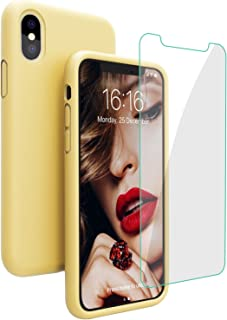 JASBON Silicone Case for iPhone X/iPhone Xs Case, Liquid Silicone Case with Free Screen Protector Gel Rubber Shockproof Cover Full Protective Case for Apple iPhone Xs/X-Yellow