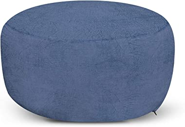 Ambesonne Faux Suede Ottoman Pouf, Digitally Printed Weathered Texture, Decorative Soft Foot Rest with Removable Cover Living