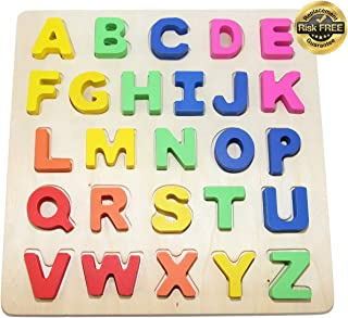 EasY FoxY ToY Wooden Alphabet Toddler Puzzles Toys for 2-3 Year Olds Kids with Big Bright Color Letters; ABC Girl, Boy Learning Resources; Preschool Educational Name Shape Puzzle for Toddlers