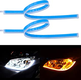 LivTee Flexible Waterproof 2Pcs 24`` Switchback Led Light Strip Kit Dual Color Replacement for Headlight Decorative Daytime Running Lights and Flowing Turn Signal Lights, Amber/White