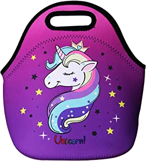 Cute Unicorn Lunch Bag for Kids, Waterproof Insulated Neoprene Lunch Tote with Zipper for School Work Outdoor (Purple)